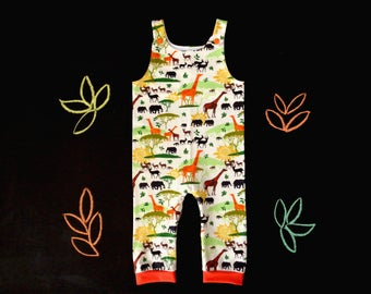 Baby overalls, toddler dungarees, africa savannah animal baby shower, gender neutral newborn romper, mom to be gift, elephant giraffe baobab