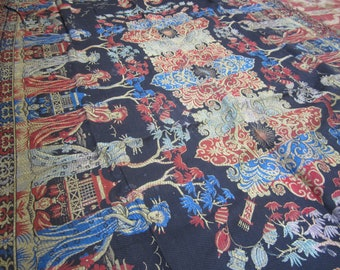 Vintage Tablecloth Asian Theme Piano Tapestry
