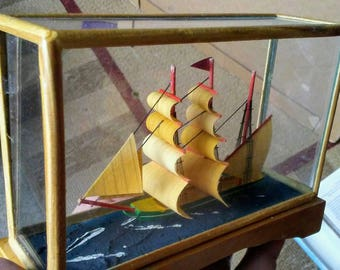 Vintage Small Ship in Glass Box