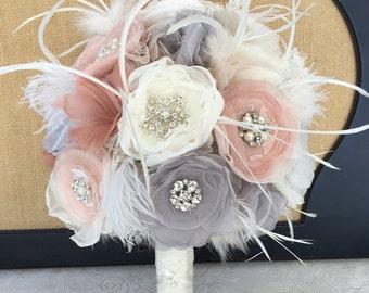 Bridal brooch bouquet, Wedding bouquet, Feather bouquet, Fabric flower Bridal bouquet, Vintage bouquet, Blush & Gray bouquet, MANY COLORS