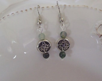 Celtic Silver EARRINGS | Dangle Earrings | Silver Plated Round Celtic Symbol and Green Glass Beads | Handmade Jewelry | Charmed Earrings
