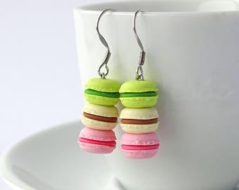 Cute stacked pastel green vanilla pink macaron dangle earrings kawaii miniature food charms macarons accessory cute colourful earrings