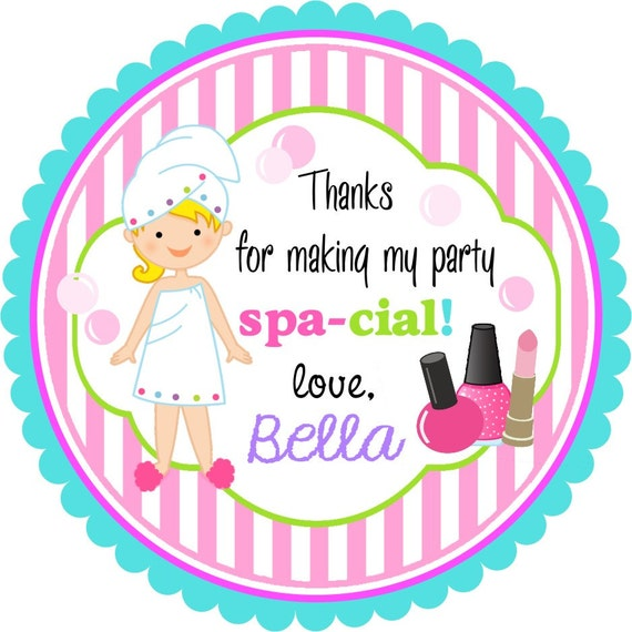 Spa stickersspa birthday party stickers spa favor tags set