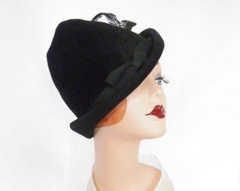 Black fedora hat, vintage tilt, feathers, Marshall Field Co.