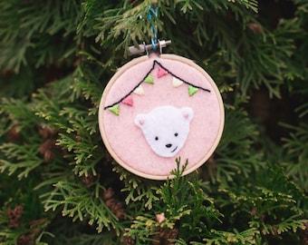 Embroidered felt polar bear ornament