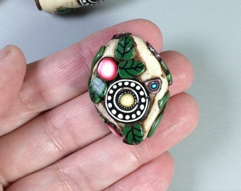 Tribal pendant set, Handmade Polymer Clay Tribal Pendant Bead Set