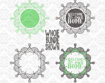 Welcome Mandala Monogram Henna Zentangle SVG DXF Ai Eps PNG Scalable Vector Instant Download Commercial Use Cutting File Cricut Silhouette