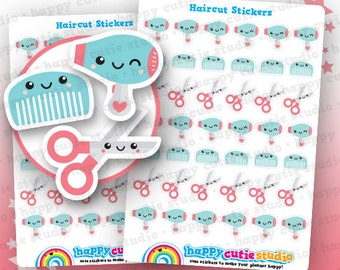 42 Cute Haircut/Appointment/Salon/Blowdry/Reminder Planner Stickers, Filofax, Erin Condren, Happy Planner,  Kawaii, Cute Sticker, UK