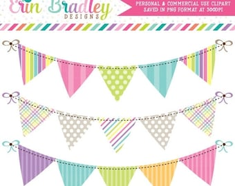 80% OFF SALE Springtime Bunting Banner Flag Clipart Clip Art Set Personal & Commercial Use