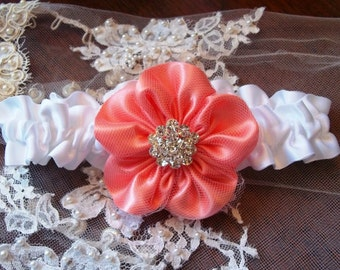 Bridal Garter with a Coral flower and white band