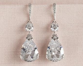 Crystal Bridal Earrings,  Wedding Earrings, Swarovski bridal jewelry, Bridesmaids Jewelry, Megan Bridal Earrings