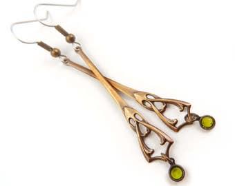 Art Nouveau Earrings, Long Earrings, Spring Green Earrings, Mucha Style Jewelry