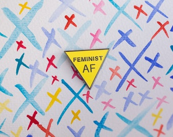 Enamel pin, Feminist AF enamel pin, rainbow lapel pin, feminist  pin equal love pin, feminism pin, activist pin, girl power badge,