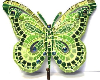 Kit mosaic to make a Green Butterfly with hook / creative DIY complete Kit