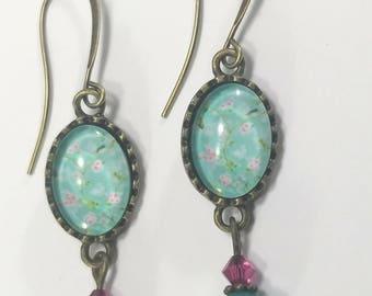 Sweet flower cabochon earrings