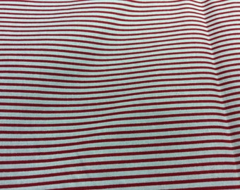 Cooton fabric with red and white stripes