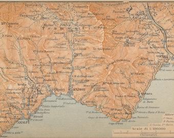 1909 Amalfi Coast, Italy Antique Map