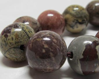 Jasper Beads 12mm Smooth Round Natural Artistic Jasper Multicolored Rounds - 16 Pieces