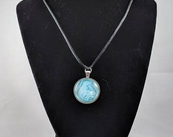 Silver Circle Pendant - Blue and White
