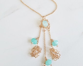 Aqua Jade Tassel Necklace, Jade Necklace, Women's Jewelry, Gift fo Mom, Bronze Necklace, Natural Stone Necklace, Boho Necklace,Edgy Necklace
