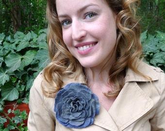 Felt Rose, Pigeon Blue Felted Rose Brooch