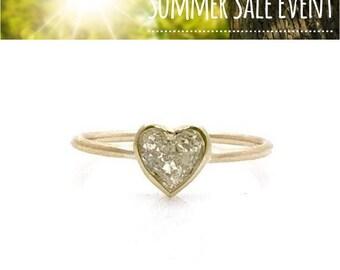 0.50 Carat Simple Bezel Heart Shaped Diamond Ring - 14K Yellow Gold