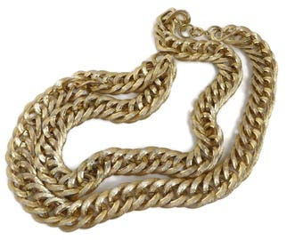 Chunky Chain Link Necklace - Vintage Long Gold Tone Necklace, Statement Jewelry