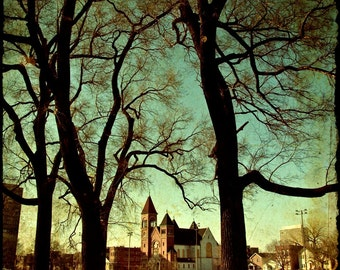 """Chicago Architecture color photography, Neglected Beauty, Fine Art Print, Abandoned Building nature """"The Golden Hour"""""""
