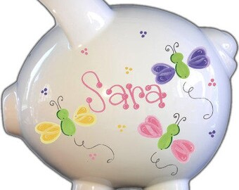 Personalized Piggy Bank | Butterfly Piggy Bank|Nursery Decor | Baby Gift | Piggy Bank for Girl | Piggy Bank| Personalized Bank|