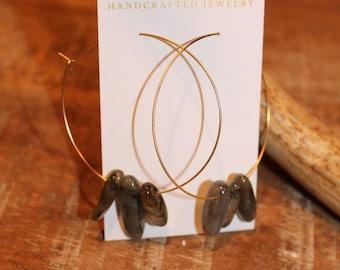 Labradorite Beaded Gold Thin Hoop Earrings