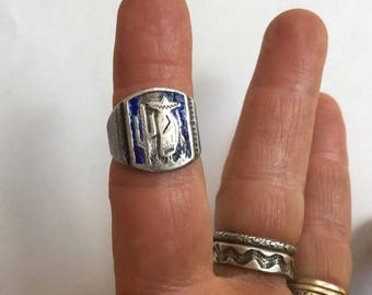 old Mexican sterling and enamel ring, size 5.5