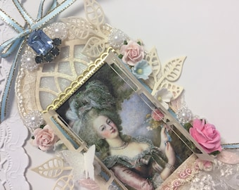 Marie Antoinette ATC ACEO Wall Hanging Window Scene Artist Trading Card Original Art Card Mixed Media ATC