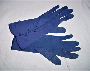 Vintage 60s Blue Cotton Blend Gloves S Forearm Length As Is