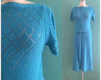 vintage 60's blue knit dress // spring shirt dress