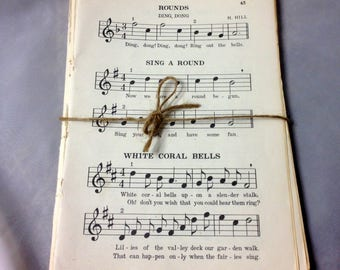 vintage Music Sheets plus black and white photos, images, 45 pages from a School Book, 6 1/2 x 9, paper craft ephemera