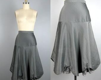 Vintage 1950s Petticoat 50s Silver/Gray Taffeta Underskirt with Lace Peek-A-Boo by Barbizon Size 26 Waist