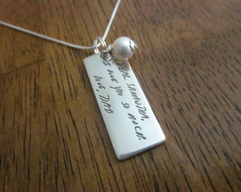 Custom Handwriting Necklace - RECTANGLE shape pendant WITH Pearl Charm - made with YOUR loved one's very own handwriting