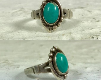 Native American Bell Trading Post sterling silver turquoise southwestern southwest boho bohemian ring size 5
