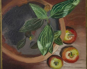 Still Life Oil Painting Original oil art Floral painting fine Art, Fruit painting, Nature Oil on Cardboard Traditional painting Handmade