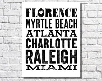 Noms de ville voyage impression typographique seau liste affiche personnalisée Art Black & White Home Decor lieux nous avons été Places a vécu métro signe