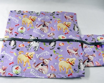 Roll Up Travel Chalkboard, Dogs and Cats on Purple