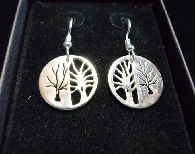 Reflection tree of life earrings dime size