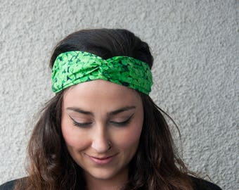 St Patricks Day Halomaia Knotted Fabric Headband with Elastic//Headband for women and girls//Turban-Style Headband for women//Chic Headband