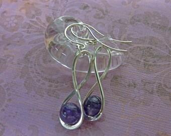 Amethyst Gem Ball Dangle Earrings - 8mm Amethyst Ball Dangles - Amethyst & Silver Dangles - February Birthstone