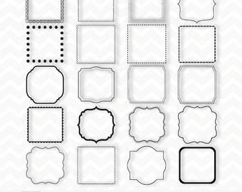 "Clipart ""Black SQUARE FRAMES Clipart"" 20 frames/labels, overlays, belly belt, photographers, albums, wedding invitations & scrapbooking"