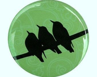 Birds On A Wire Green Pocket Mirror 2 1/4 inch 2.25