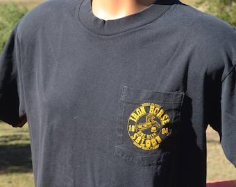 vintage 90s t-shirt BIKE WEEK daytona beach iron horse saloon pocket black tee Small XS