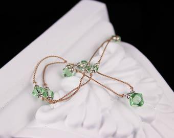 Peridot Crystal Tan Knotted Silk Necklace, Swarovski