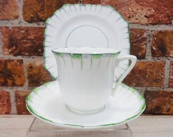 Art Deco White & Green Grey Bone China Trio Cup saucer side plate hand painted