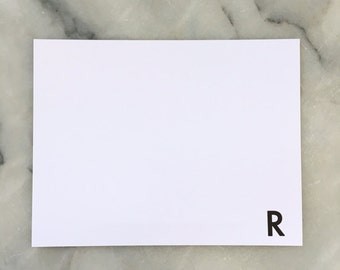 Personalized Letterpress Monogram Note Cards in Futura
